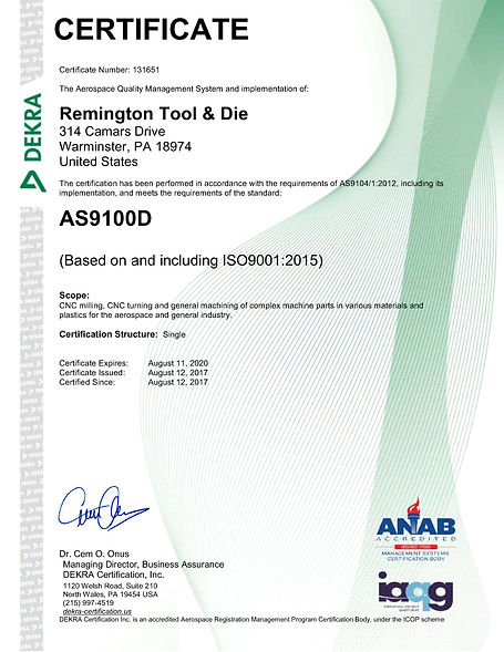 Remington Tool AS9100D Certificate