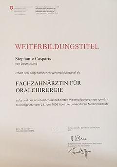 Zertifikat Fachzahnärztin für Oralchirurgie