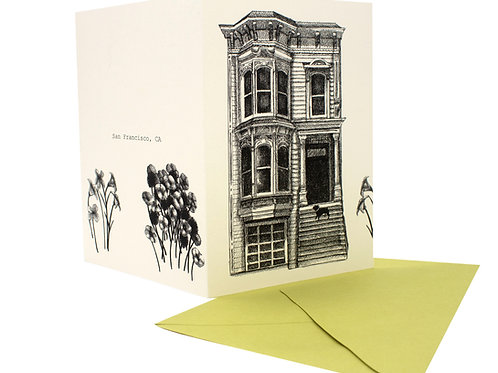 Victorian House and French Bulldog, blank card