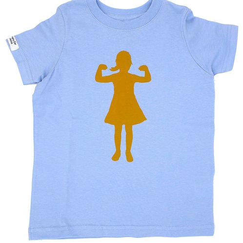 Power Girl, 100% cotton t-shirt, light blue