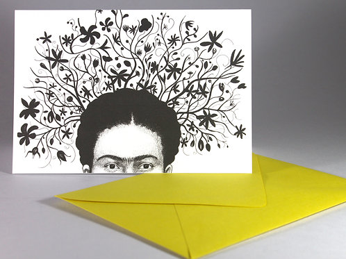 Frida with Flowers, blank card