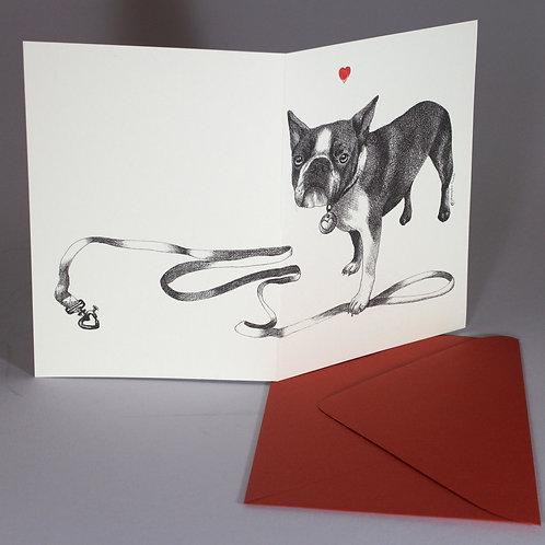 French Bulldog, blank card