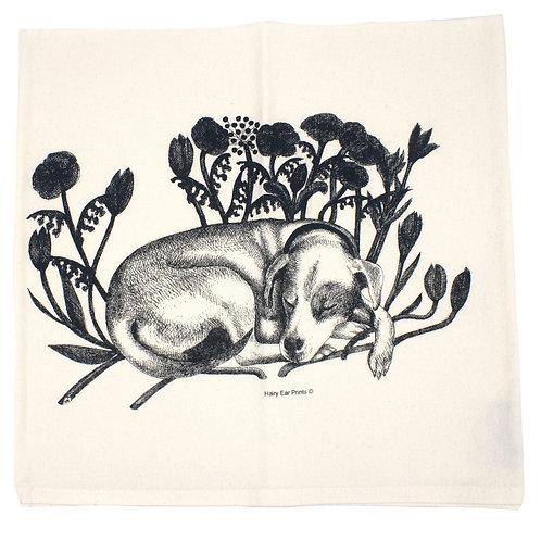 Sleeping Dog Tea Towel, 100% organic cotton, printed by hand