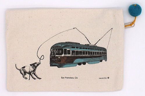 Vintage Streetcar in San Francisco Pouch, 100% cotton