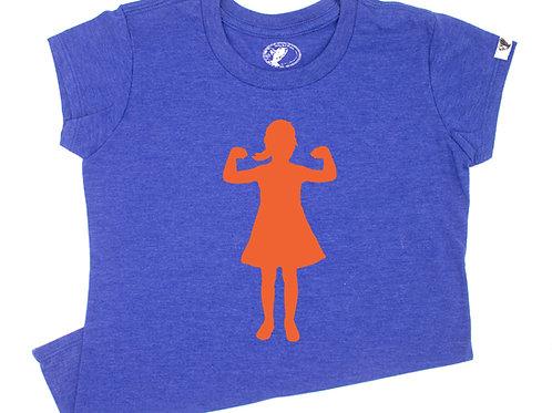 Power Girl T-Shirt (youth), blue/orange