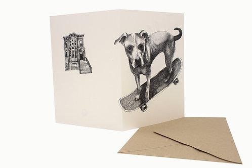 Skateboard Dog & SF Victorian, blank card