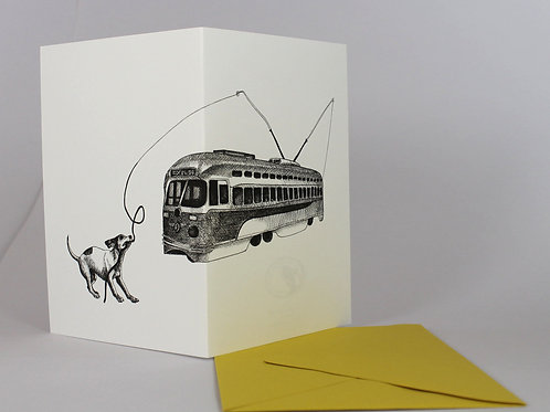 Vintage Streetcar and Dog, blank card