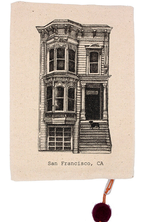 Victorian House and French Bulldog, 100% cotton pouch