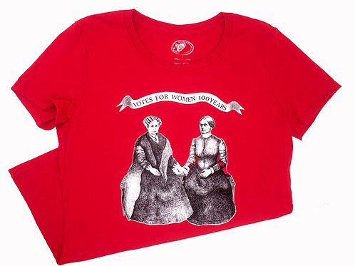 Votes for Women 100 Years T-Shirt, 100% cotton, red