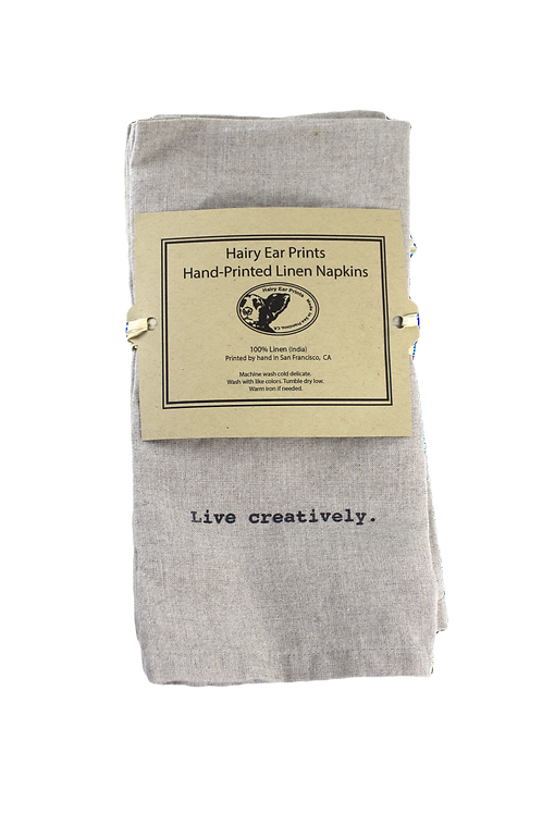 Live Creatively Table Napkins, 100% linen, silkscreen