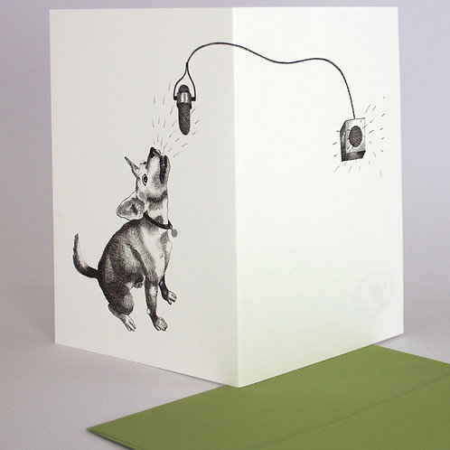 Dog & Microphone, blank card