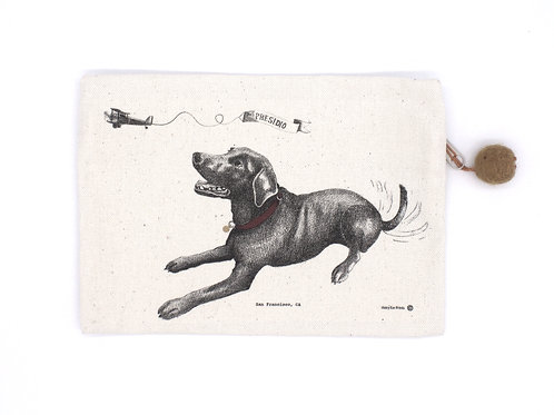 Dog in the SF Presidio Pouch, 100% cotton