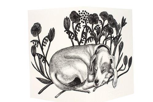 Sleeping Dog with Flowers, Blank Card