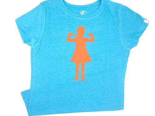Power Girl T-Shirt (youth), light blue and orange