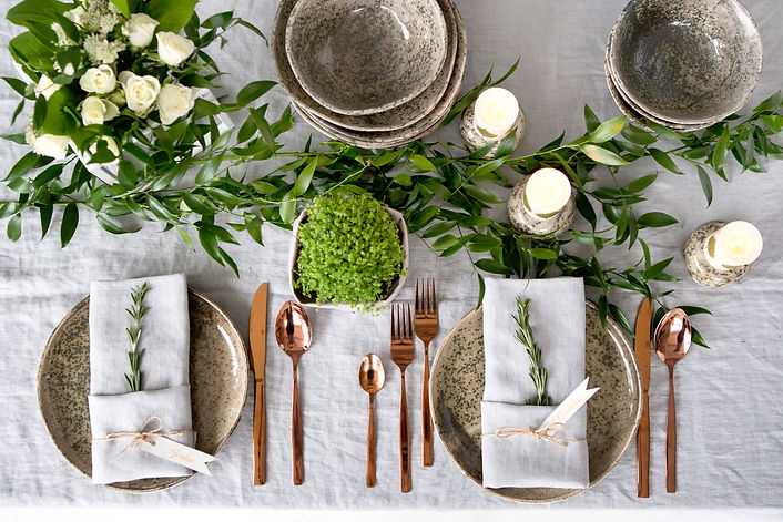 Holiday table setting with Linen napkins