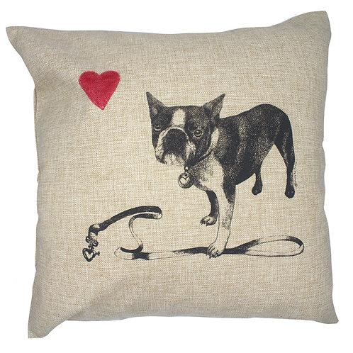 French Bulldog, 100% linen pillow