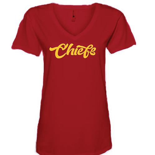 Chiefs Script Women's V-Neck Tee