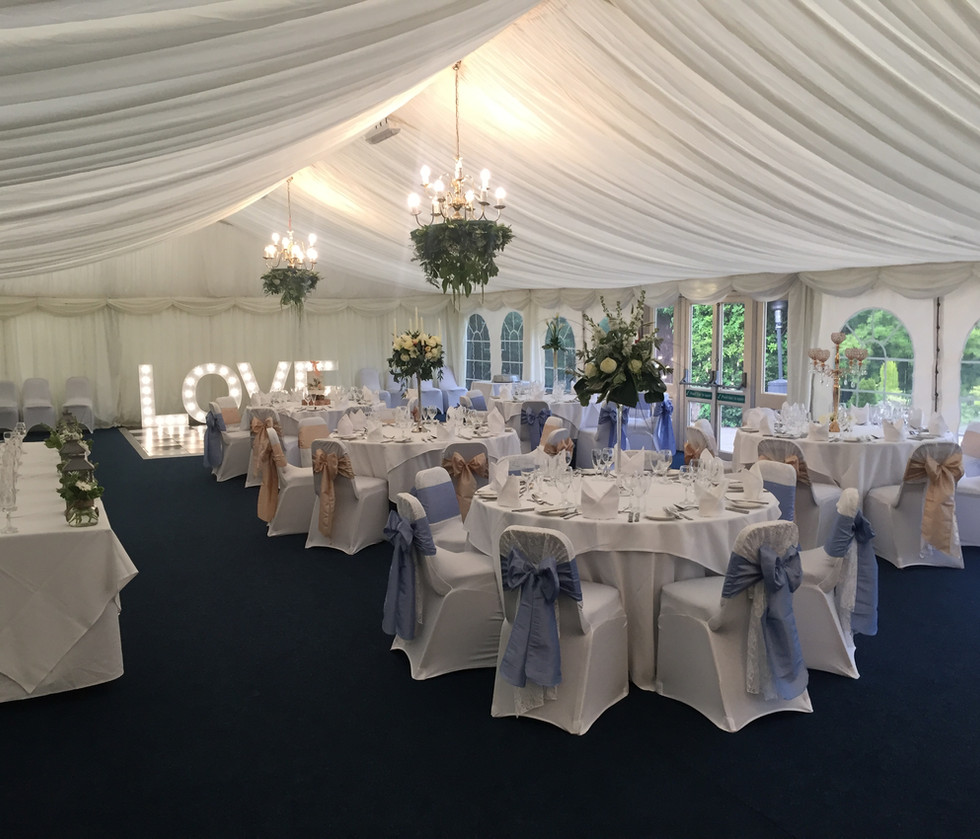 Marquee - Baby Blue and Hessian