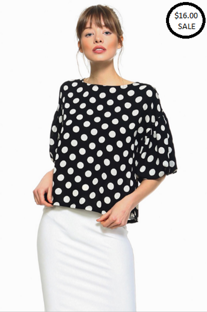 Royal Short Sleeved Polkadot Top