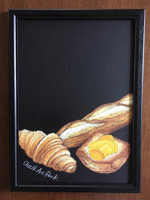 【かき消しデキる】チョークアートボード(額付き)パン