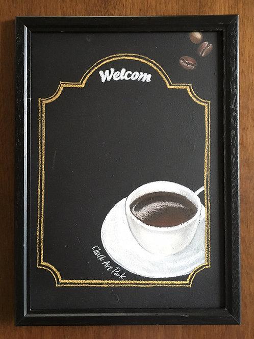 【かき消しデキる】チョークアートボード(額付き)コーヒー