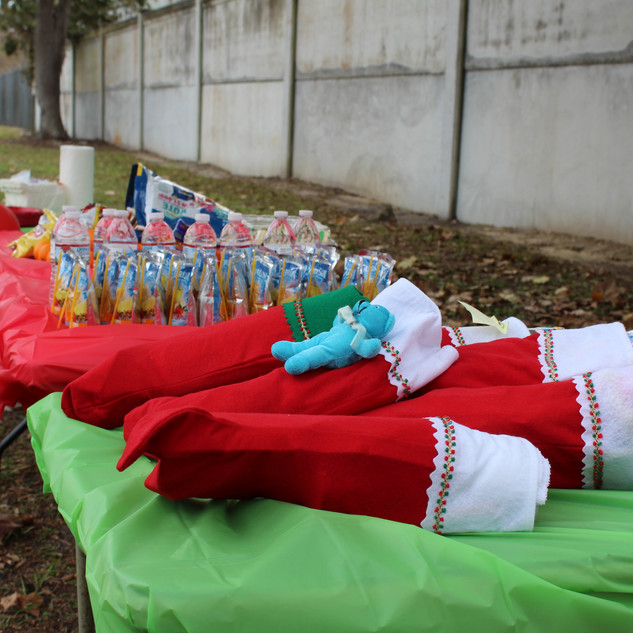 Stockings given out at Palmetto Glen's Christmas party.