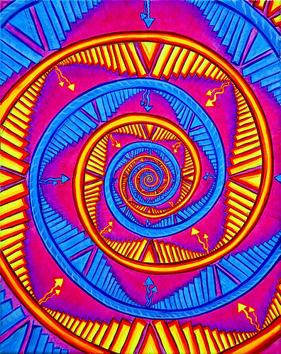 """Spiral of Mind"" Original Neon Visionary Painting"