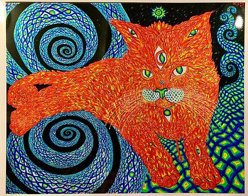 """Metallic Art-Print: """"Cat that brings Love"""" (regular light look)"""
