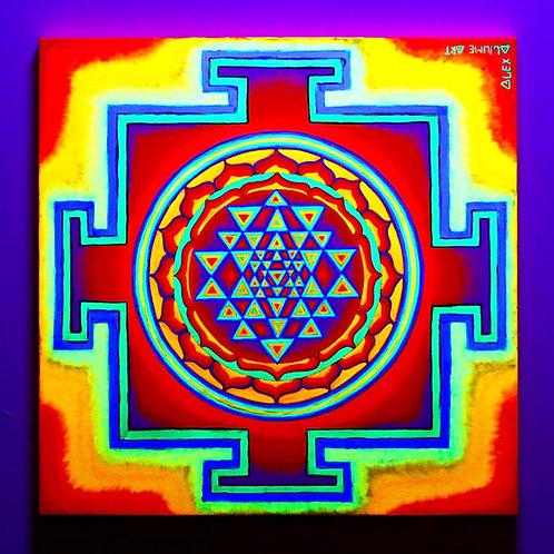 """Sri-Yantra"" Original Neon Visionary Painting"