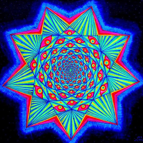 """""""ENNEAGRAM"""" Original Neon-Glow in the Dark Visionary Painting"""