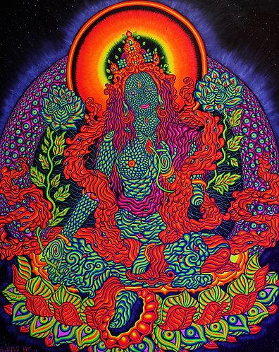 """""""Universal Tara"""" - Satin Blacklight UV Tapestry. Glows Under"""