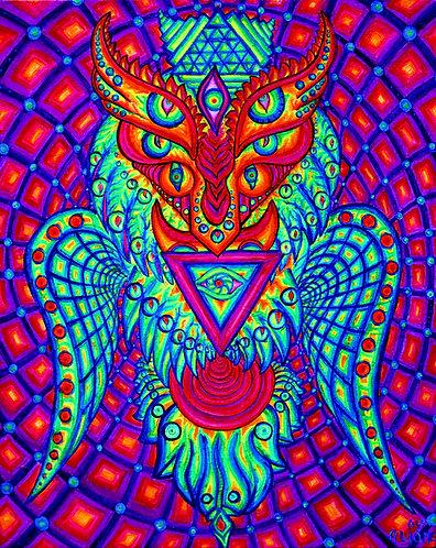 """The OWL"" Original Neon Visionary Painting"