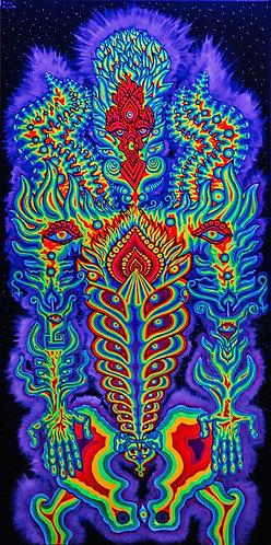"""HUMAN-GOD"" Original Neon Visionary Painting"