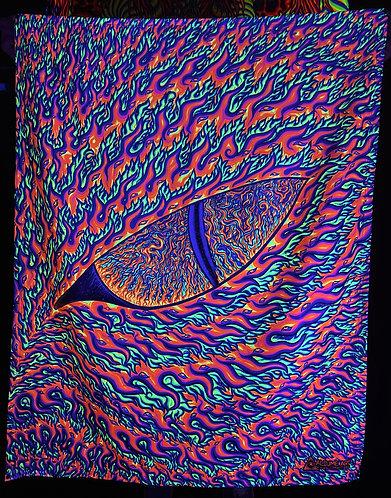 """""""Eye of Phoenix"""" - Satin Blacklight UV Tapestry. Glows Under UV Light!"""