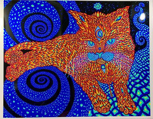 """Metallic Paper Art-Print: """"Cat that brings love"""" (UV look)"""