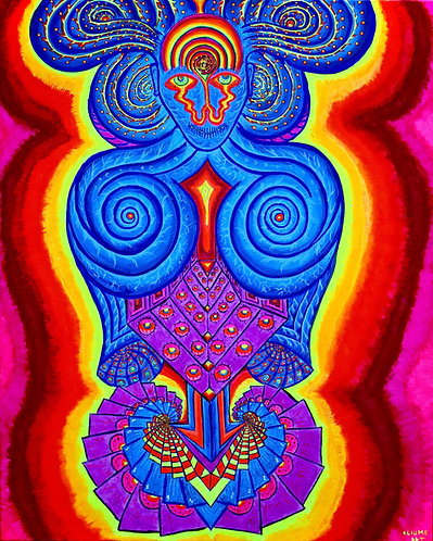 """Consciousness transformation"" Original Neon Visionary Painting"