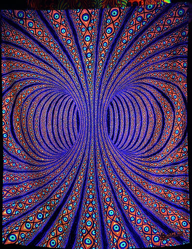 """""""All-Seeing Torus"""" - Satin Blacklight UV Tapestry. Glows Under UV Light!"""