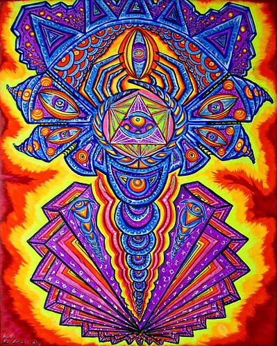 """""""Dragonfly Fractalus"""" Original Neon Visionary Painting"""