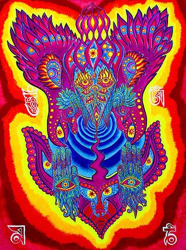 """VISNU"" Original Neon Visionary Painting"