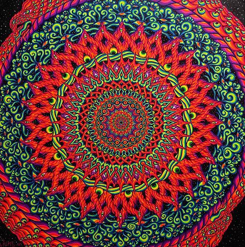 """Map of Cosmology"" - Satin Blacklight UV Tapestry. Glows Under"