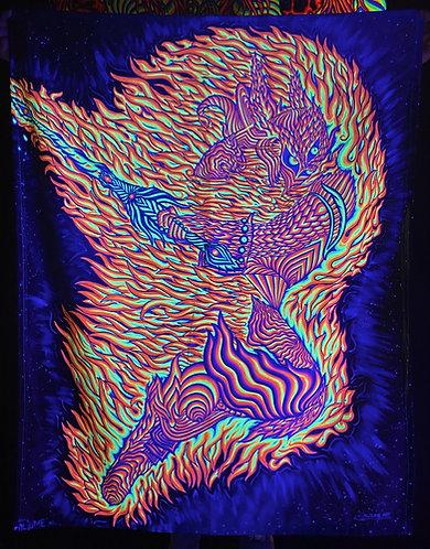"""""""Sacred Warrior"""" - Satin Blacklight UV Tapestry. Glows Under UV Light!"""