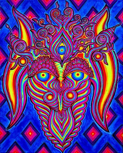 """Spiritus Flamma"" Original Neon Visionary Painting"