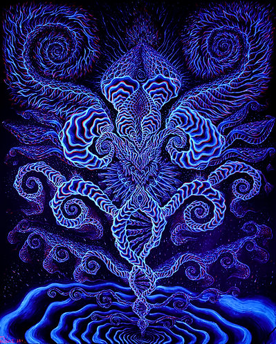 """Pure Consciousness: Rebirth"" - Original Blacklight UV Visionary Painting"