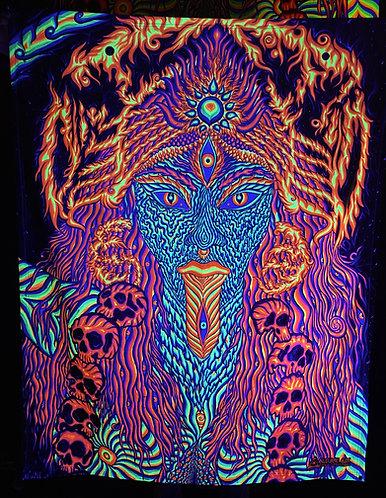 """""""KALI"""" - Satin Blacklight UV Tapestry. Glows Under UV Light!"""