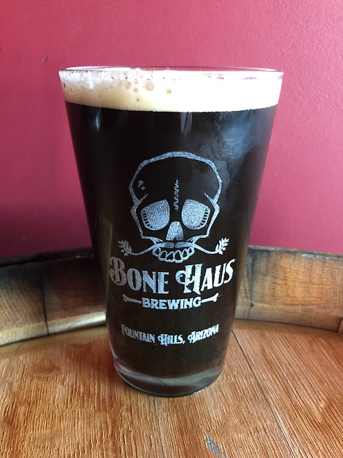 Laser Etched 16oz Bone Haus Brewing Pint Glass