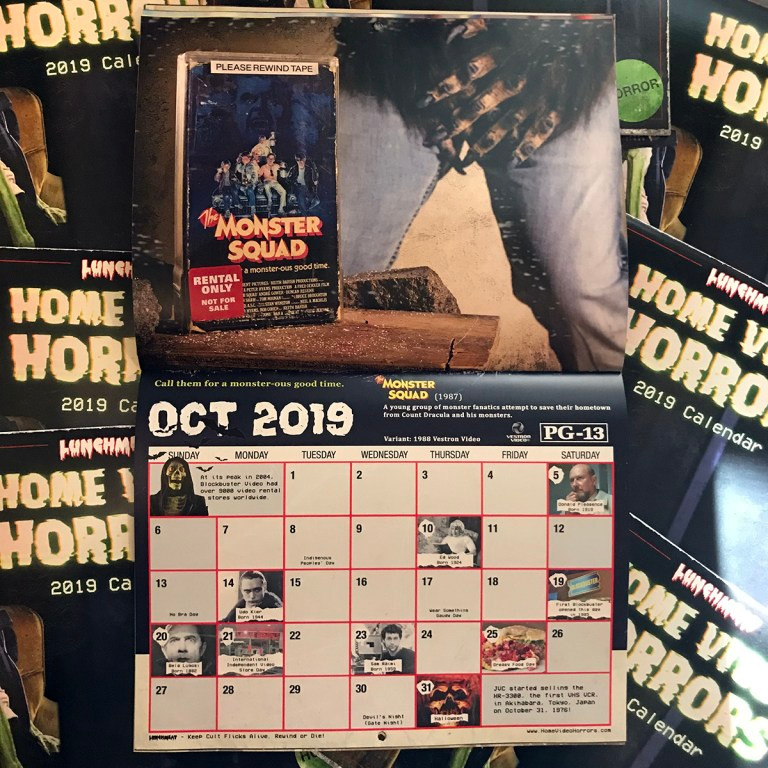 Lunchmeat's Home Video Horrors Calendar 2019