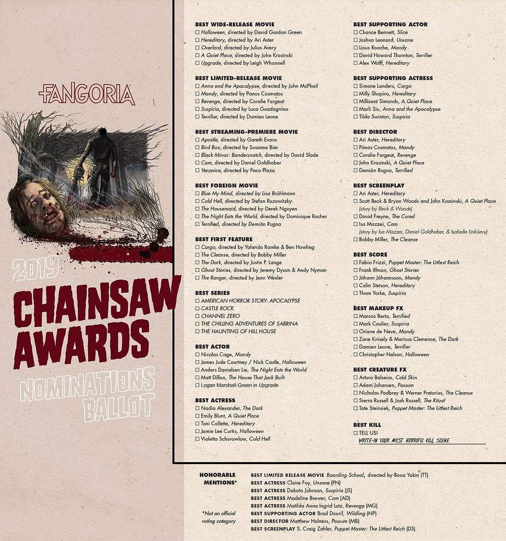Fangoria Chainsaw Awards 2019