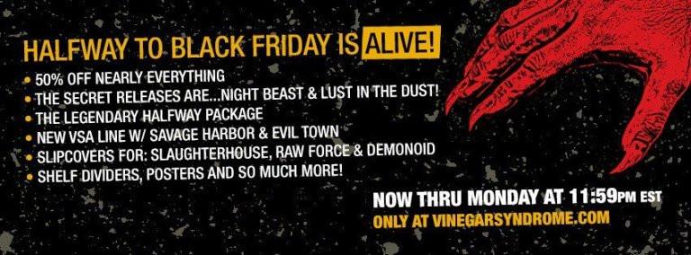 Vinegar Syndrome Halfway to Black Friday Sale 2019
