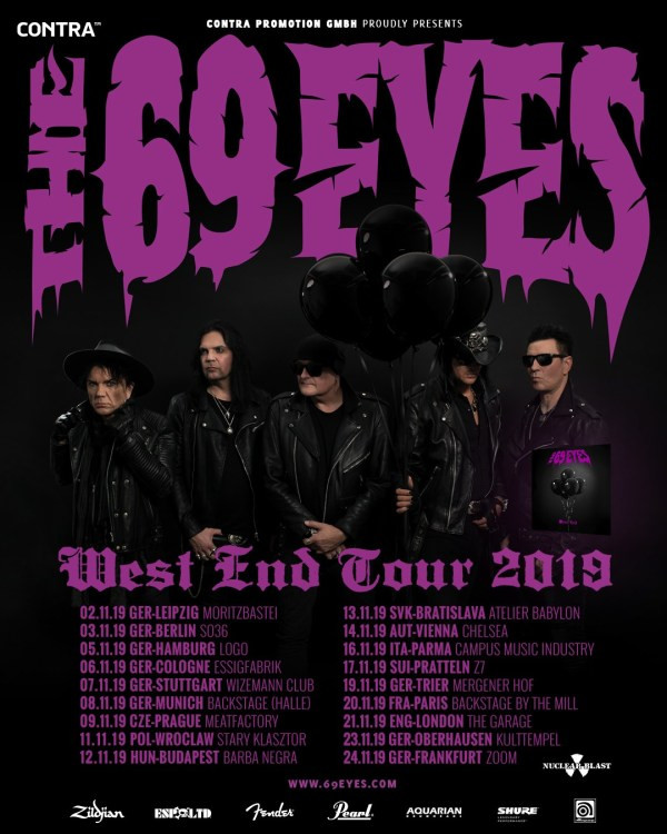 The 69 Eyes West End Tour 2019