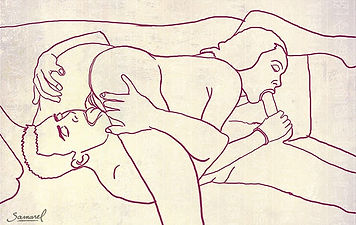 Sketch-of-69 oral sex couple painting